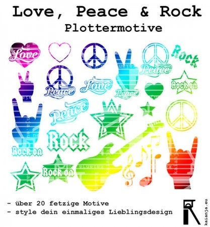 "Plotterdatei ""Love, Peace & Rock"""